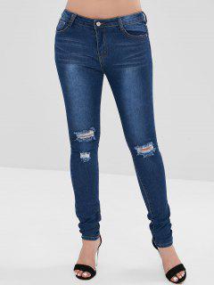 Bleach Wash Skinny Distressed Jeans - Denim Dark Blue S