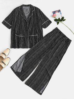 Lapel Striped Pocket Pajamas Set - Black L