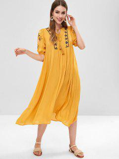Puff Sleeve Embroidery Midi Dress - Golden Brown