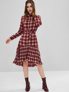 Belted Plaid High Low Dress - Red Wine M