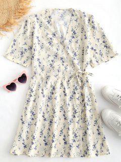 Floral Print Mini Wrap Dress - Beige L