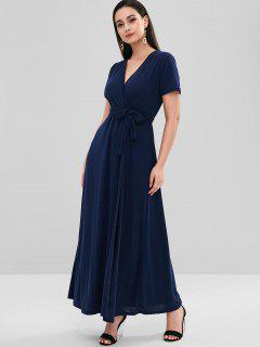 Belted Crossover Maxi Dress - Deep Blue M