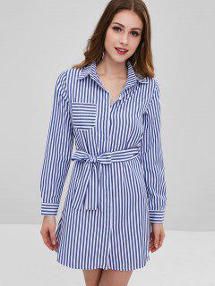 Stripes Casual Shirt Dress - Blue L
