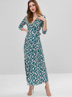 Leaf Floor Length Wrap Dress - Sea Green M