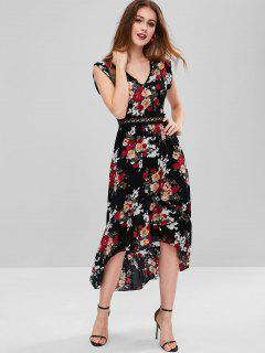 Lace Panel Floral High Low Dress - Black M