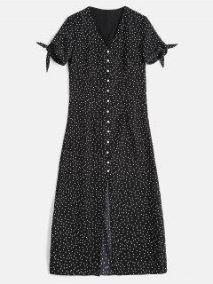 Buttons Embellished Polka Dot Dress - Black M