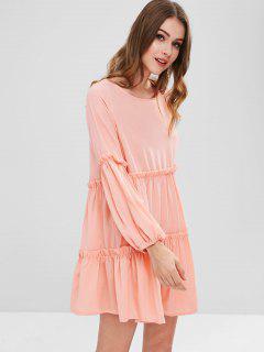 Cutout Ruffle Mini Dress - Pink M