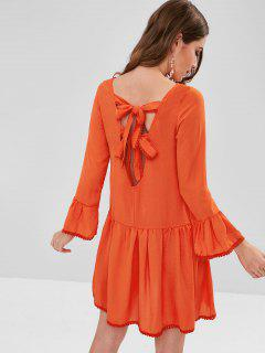 Crochet Trim Knotted Mini Dress - Bright Orange M