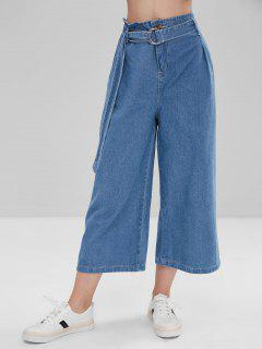 High Waisted Belt Wide Leg Jeans - Denim Blue L