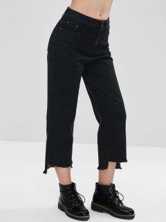 Tassels High-Low Hem Wide Leg Jeans - Black M