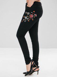 Flower Embroidery Pencil Jeans - Black L