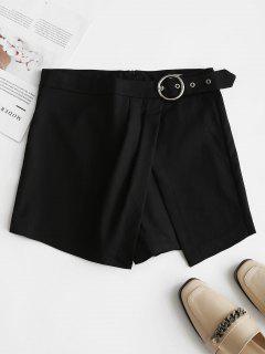 Belt Embellished Overlap Shorts - Black L