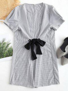 Bowknot Embellished Gingham Dress - Black S