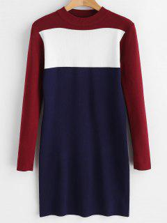Color Block Bodycon Sweater Dress - Multi