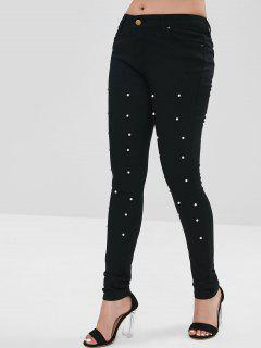 Faux Pearl Embellished Tight Pants - Black M