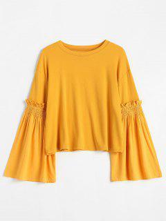 Ruffles Flare Sleeve T-shirt - Yellow