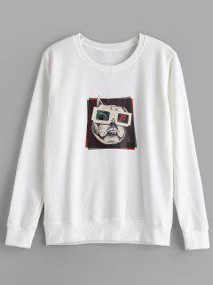 Loopback Graphic Crewneck Sweatshirt - White M