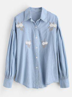 Pleated Sequin Embroidered Chambray Shirt - Blue Gray L