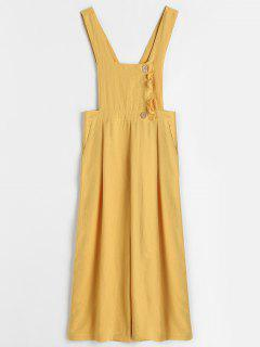 Half Button Ruffles Loose Jumpsuit - Yellow M