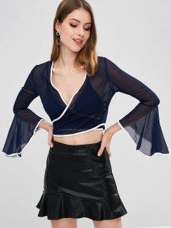 Flare Sleeve Cropped Wrap Top - Deep Blue M