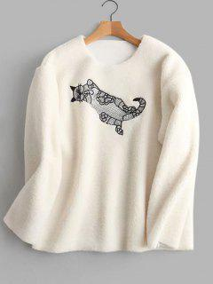 Cat Embroidered Faux Shearling Sweatshirt - White M