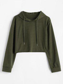 Drop Shoulder Crop Cat Hoodie - Fern Green L