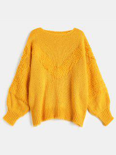 Drop Shoulder Loose Jumper Sweater - Bright Yellow