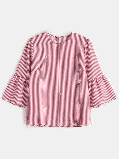 Striped Faux Pearl Beaded Top - Red L