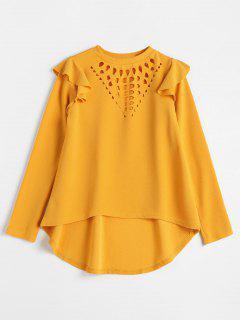 Long Sleeve Cut Out Asymmetrical Blouse - Yellow L