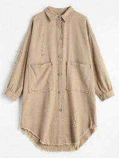 Printed High Low Hem Ripped Shirt - Light Khaki L