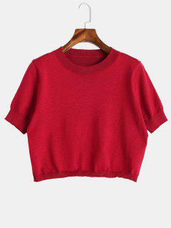 Short Sleeve Cropped Knitwear - Red