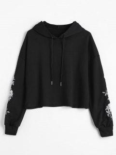Drop Shoulder Embroidered Hoodie - Black L