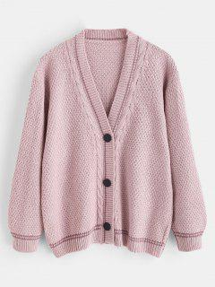 Snap-button Cable Knit Cardigan - Pig Pink