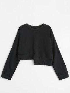 Solid Color Asymmetric Sweatshirt - Black