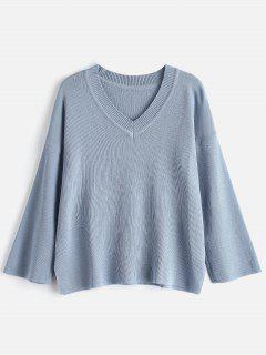 V Neck Side Slit Knit Sweater - Blue Gray