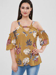 Cutout Floral Cold Shoulder Blouse - Orange Gold L