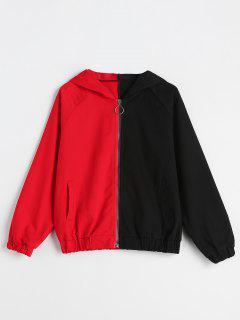 Raglan Sleeve Hooded Two-Tone Jacket - Multi Xl