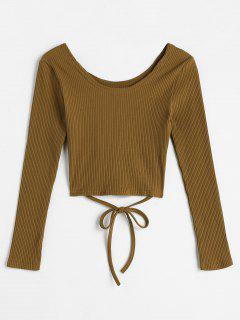 Tie Waist Cropped Ribbed Knitwear - Coffee
