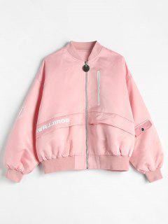 Solid Color Hidden Pockets Jacket - Pink Xl