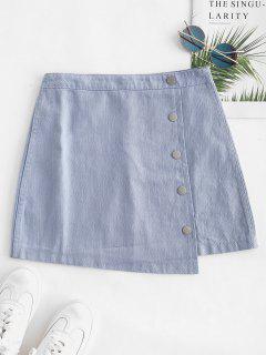 Asymmetrical Mini Skirt With Buttons - Light Blue L