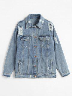 Ripped Loose Denim Jacket - Jeans Blue L