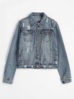 Button Front Distressed Denim Jacket - Denim Blue L