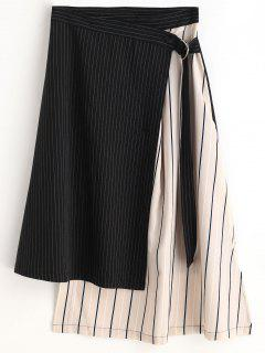 Striped Asymmetric Wrap Skirt - Black L