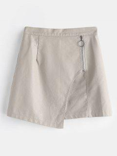 Zipped Overlay Faux Leather Mini Skirt - Gray Goose L