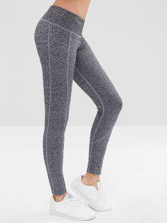 High Waisted Marled Sports Leggings - Gray L