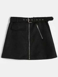Zip Front Belted Mini Skirt - Black L
