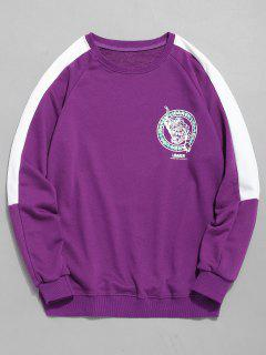 Tiger Print Sleeve Striped Sweatshirt - Purple Xl