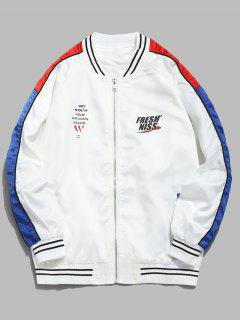Contrast Striped Letter Bomber Jacket - White Xl