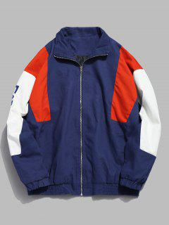 Color Block Letter Zip Jacket - Blue M