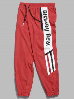 Side Letter Striped Waterproof Jogger Pants - Fire Engine Red L